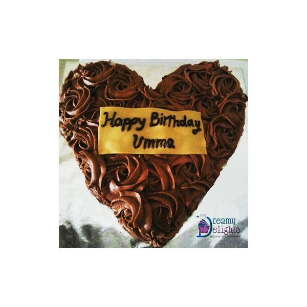 Heart Shape Dark Chocolate Cake 1kg